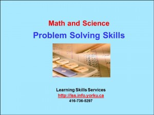 Math and Science BlueTitle Problem Solving Skills 2013-14