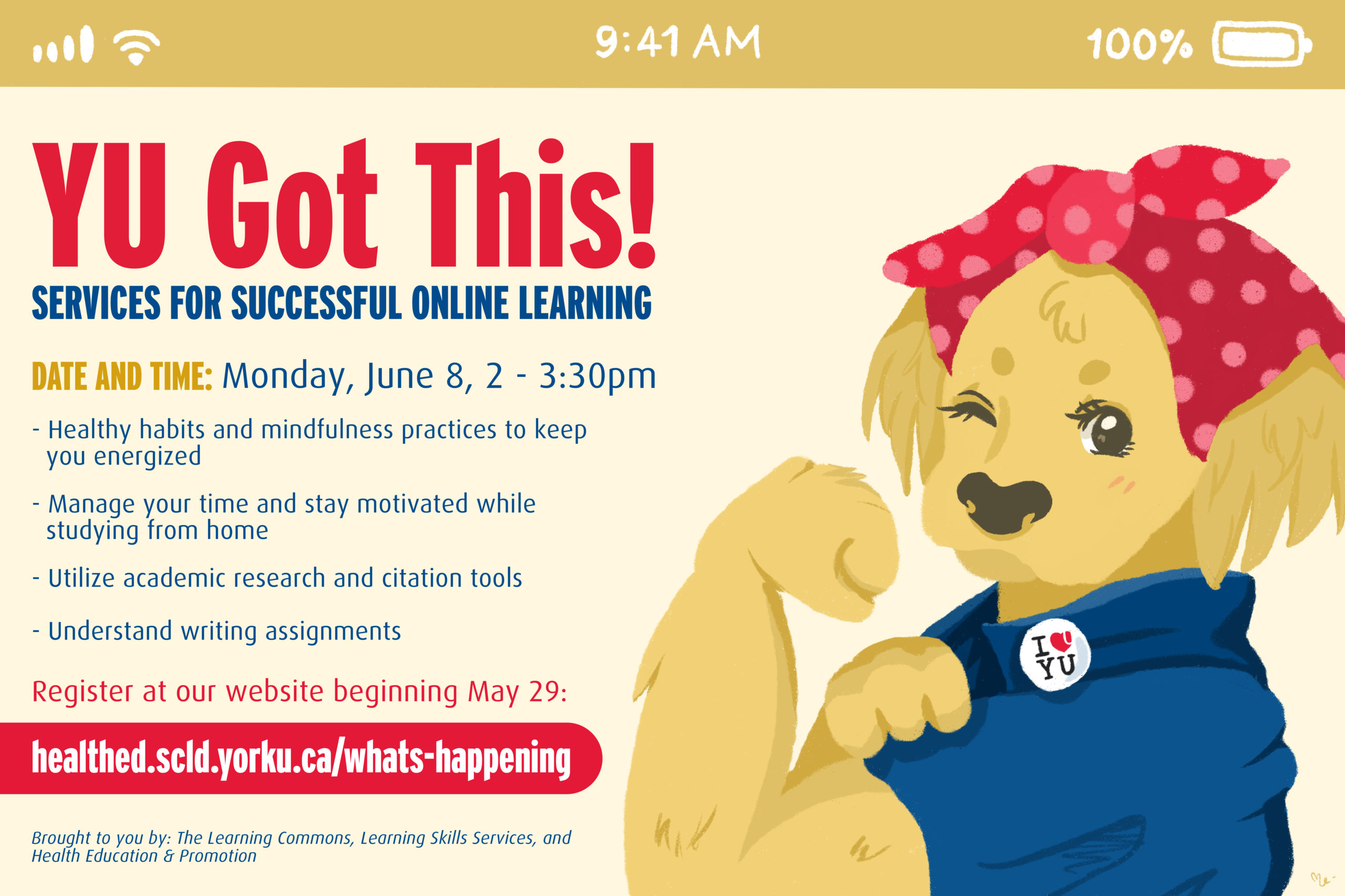 YU Got This: Services for Successful Online Learning @ https://yorku.zoom.us/meeting/register/tJcsd-2qqDsuHtIjGErarmJiUXS0nfn9L69e